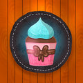Vector cupcake with chocolate and mint cream. Royalty Free Stock Photo