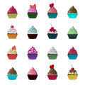 Vector cupcakes and muffins set.