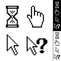 Vector cursors set of monochrome pixel Royalty Free Stock Photo