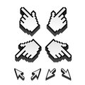 Vector cursors set of monochrome pixel Royalty Free Stock Images