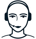 Vector customer care service specialist woman illustration representative head in headset icon Royalty Free Stock Photo