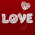 Vector cut out paper lacy love sign Royalty Free Stock Photo