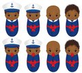 Vector Cute African American Babies Dressed in Nautical Style
