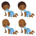 Vector Cute African American Baby Boys Crawling. Vector Baby Boy Shower Royalty Free Stock Photo