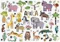 Vector cute african animals