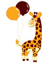Vector Cute Baby Giraffe with Balloons. Royalty Free Stock Photo