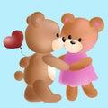 Vector cute bears in love.