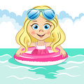 Vector cute blonde girl with cool blue sunglasses