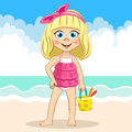 Vector cute blonde girl in pink swimsuit holding bucket at the sea beach