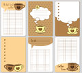 Vector cute cards. Notes, stickers, labels, tags with funny cups and hearts. Design for craft paper, scrapbook, template and greet Royalty Free Stock Photo