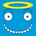 A vector cute cartoon blue angel face Royalty Free Stock Photos