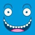 A vector cute cartoon blue happy face Stock Image