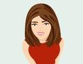 Vector cute cartoon girl with brown hair.