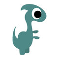 A vector cute cartoon green dinosaur isolated Stock Photo