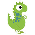 A vector cute cartoon green dinosaur isolated Stock Image