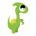 A vector cute cartoon green dinosaur isolated Stock Photography