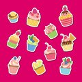 Vector cute cartoon muffins or cupcakes stickers set illustration