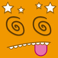 A Vector Cute Cartoon Orange Dizzy Face