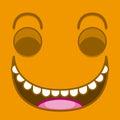 A Vector Cute Cartoon Orange Laughing Face