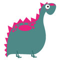 A vector cute cartoon pink dinosaur isolated Royalty Free Stock Photos
