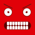 A vector cute cartoon red furious face Royalty Free Stock Images