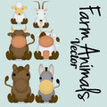 Vector cute cartoon set of different farm animals a Stock Images
