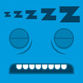 A vector cute cartoon sleeping blue face Royalty Free Stock Image