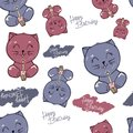 Vector cute cat and elements seamless pattern, isolated on white. cat blows out the candle on the cupcake. hand written