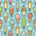Vector cute colorful ice cream seamless pattern Royalty Free Stock Photo