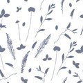 Vector cute cyanotype seamless flower pattern floral elements Royalty Free Stock Photo