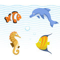 Vector cute different sea and ocean animals set. Colorful striped fish, seahorse, clown fish, dolphin.