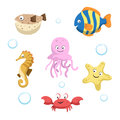 Vector cute different sea and ocean animals set. Isolated vector illustration.