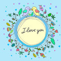 Vector cute doodle birds in love Royalty Free Stock Photo
