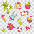 Vector cute doodle collection of summer stickers. The sea vacati