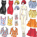Vector cute dress up paper doll fashion girl body template and outfit in different color combinations Royalty Free Stock Image
