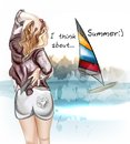 Vector cute girl standing back and watch on a sea illustration with beautiful sexy think about summer rest Stock Photo
