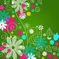 Vector cute hand drawn style doodle spring leaves flowers background illustration Stock Photography