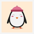 Vector cute happy flat wild animal penguin in pink hat with pom pom Royalty Free Stock Photo
