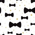 Vector cute hipster bow tie seamless pattern background with golden polka dot ornament
