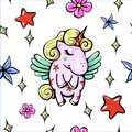 Vector cute illustration with pegasus shy baby unicorn with wings seamless pattern Royalty Free Stock Photo