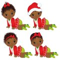 Vector Cute African American Baby Girls Wearing Christmas Clothes Royalty Free Stock Photo