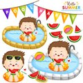 A Vector of Cute Boy Eating Sweet Watermelon and Partying at the Pool