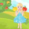 Vector Cute little girl with the apples laughs Stock Photography