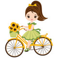 Vector Cute Little Girl with Bicycle