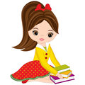 Vector Cute Little Girl with Books
