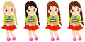 Vector Cute Little Girls with Books