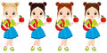 Vector Cute Little Girls with School Bags and Apples