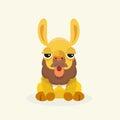 Vector cute llama or alpaca illustration.