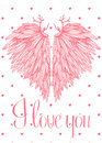Vector cute lovely card with heart shaped angel wings