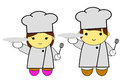 Cute man and woman chef at white background Royalty Free Stock Photo